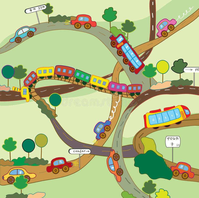 Free Cute Everyday Transportation Cartoon Royalty Free Stock Images - 15110759