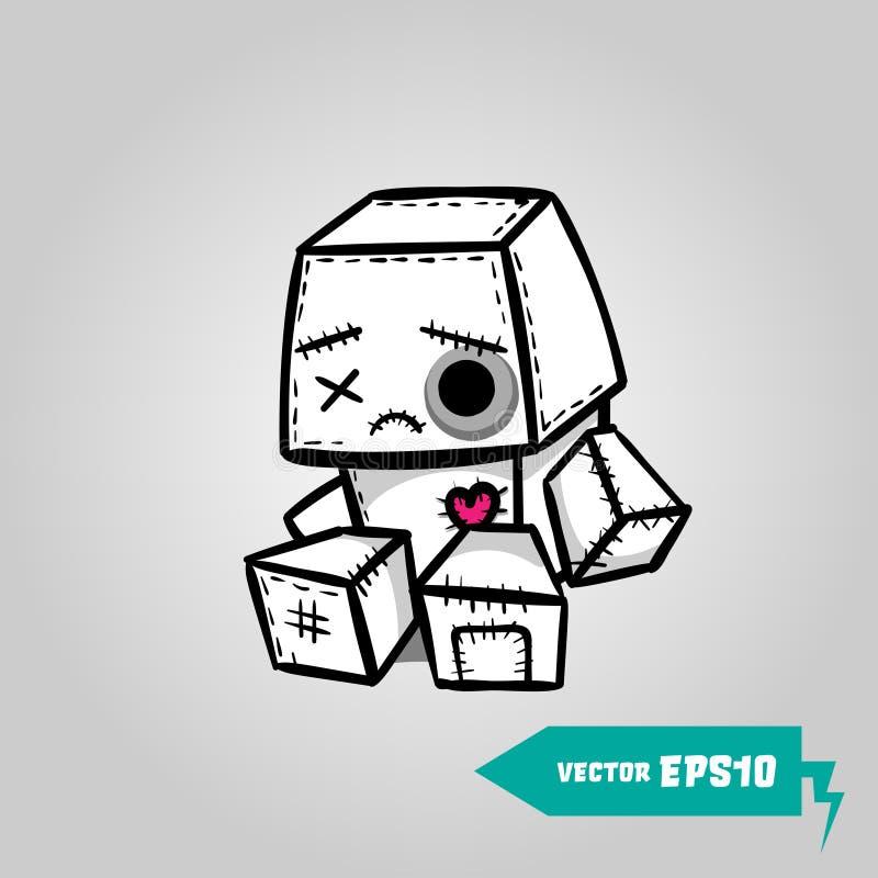 Cute evil robot felt sad halloween sticker stock illustration