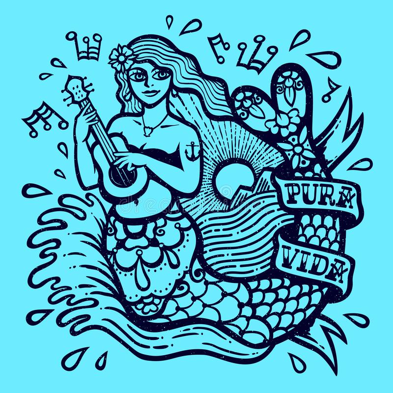 Cute exotic mermaid girl playing ukulele with sea and shining sun exotic tropical paradise monochrome vector illustration stock illustration
