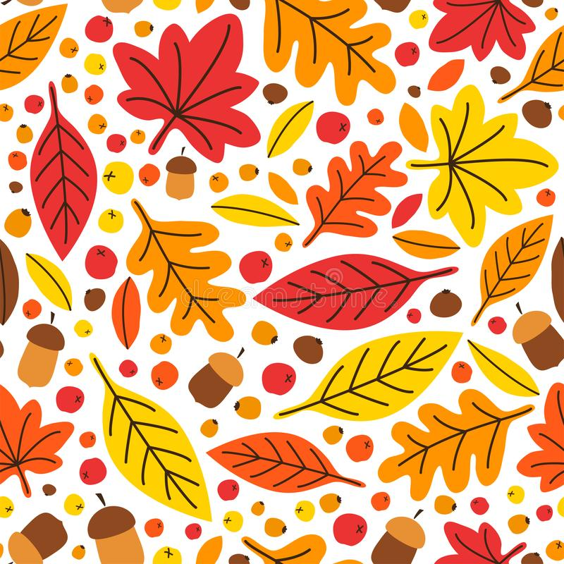 Cute botanical hand drawn Autumn Leaves seamless pattern background vector illustration