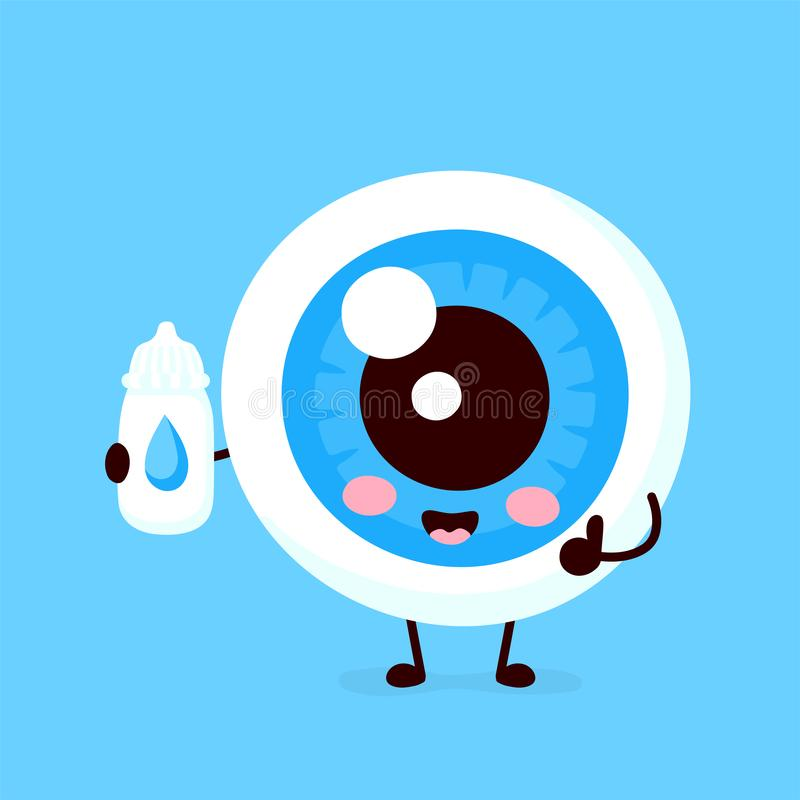 Cute eyeball with eye drops character royalty free illustration