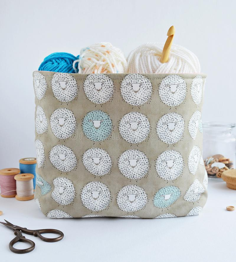 Cute fabric basket stock photography