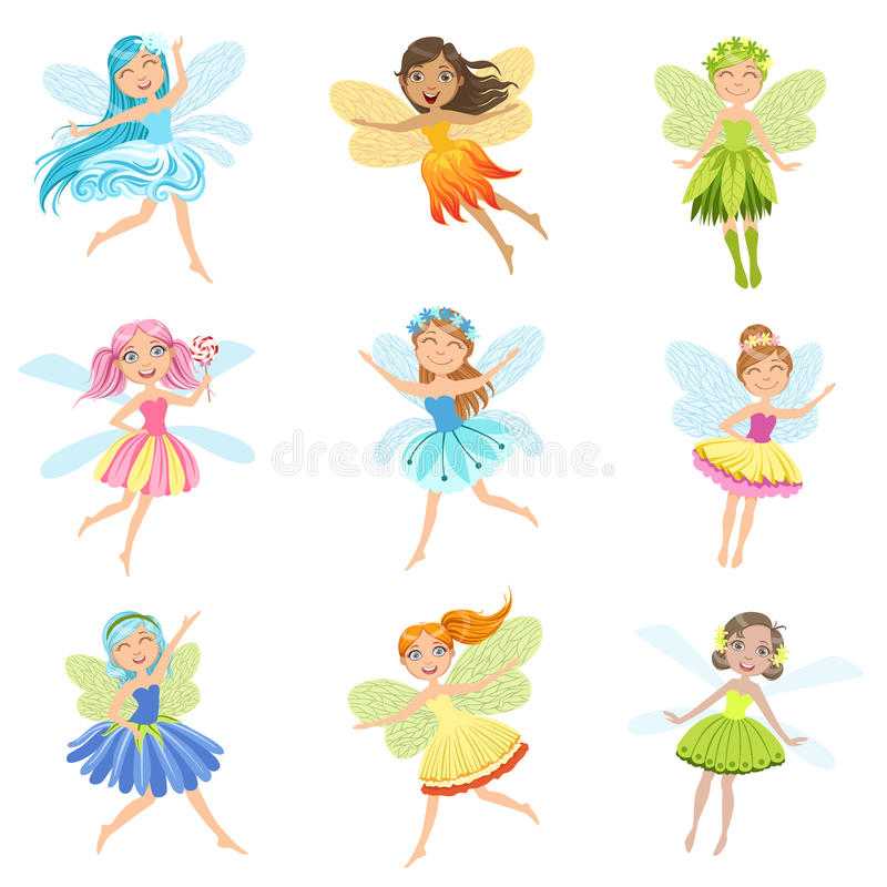 Cute Fairies In Pretty Dresses Girly Cartoon Characters Collection vector illustration