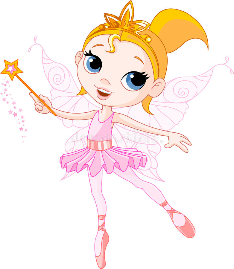 Cute fairy. Little Cute fairy ballerina with magic wand stock illustration
