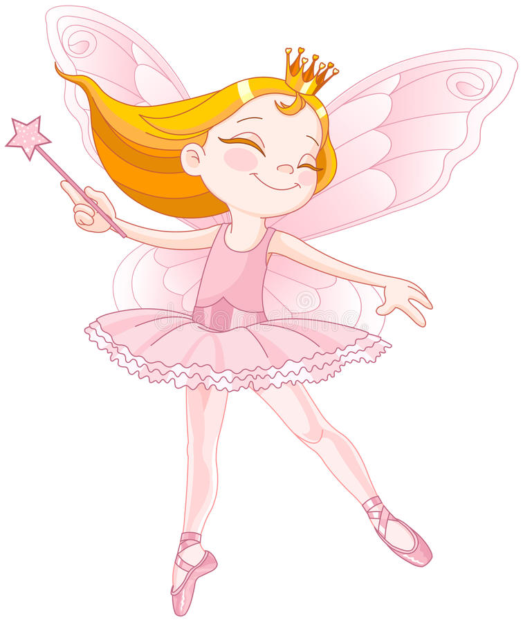 Cute fairy ballerina. Illustration of little cute dancing fairy ballerina stock illustration