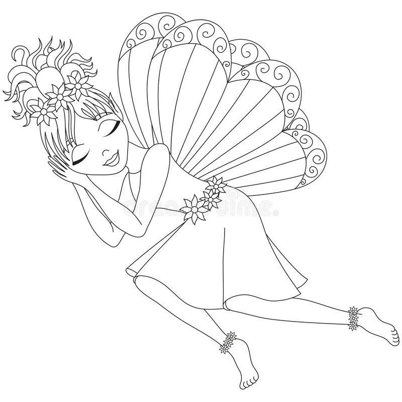 Cute fairy in dress is sleeping coloring book page stock for Cute fairy coloring pages