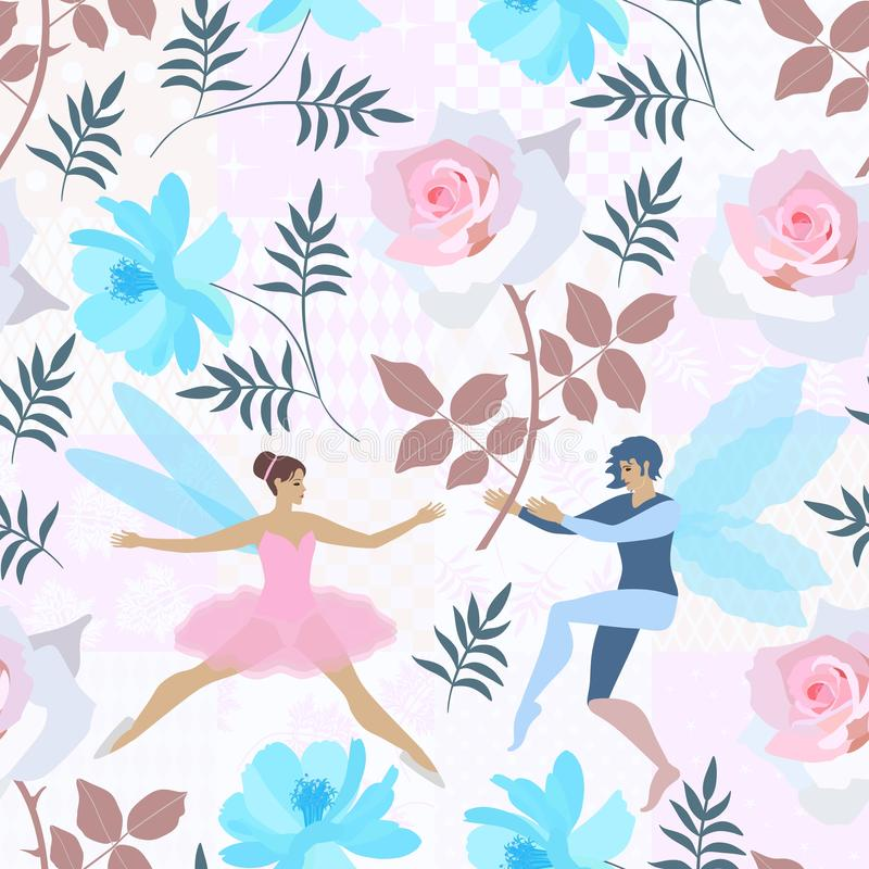 Cute fairy and elf in floral garden with big blue and pink flowers on gentle patchwork background. Seamless print for fabric, paper, wallpaper, wedding design vector illustration