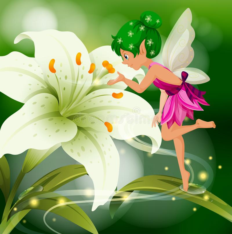 Cute fairy flying around white lily stock illustration