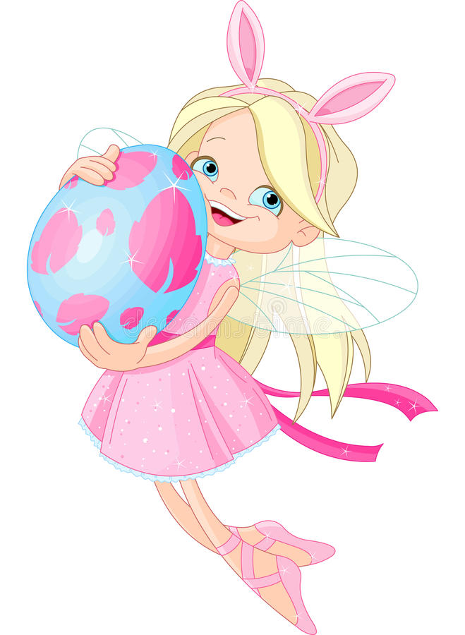 Cute Fairy flying with Easter Egg royalty free illustration