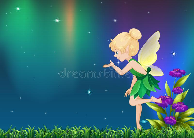 Cute fairy flying in garden at night. Illustration stock illustration
