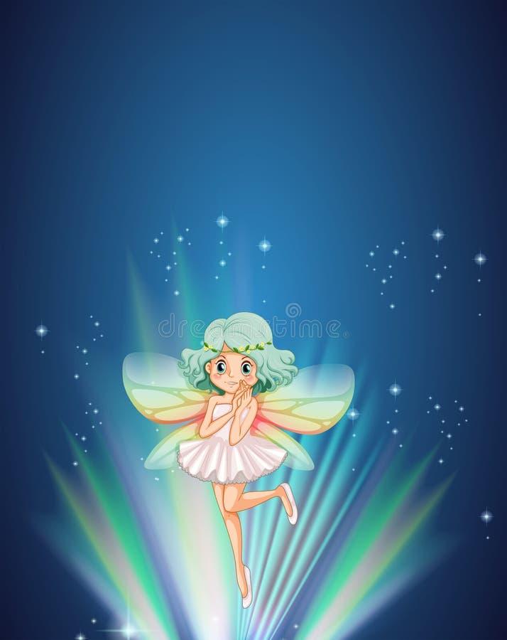 Cute fairy flying at night stock illustration