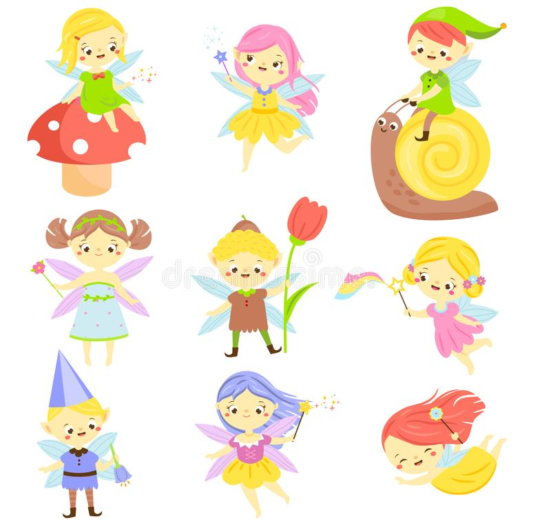 Cute fairy. Garden elf and pixie. Little people. Beautiful girls and bys in winged flying costumes. Vector Set of cartoon fantasy. Chartacters stock illustration