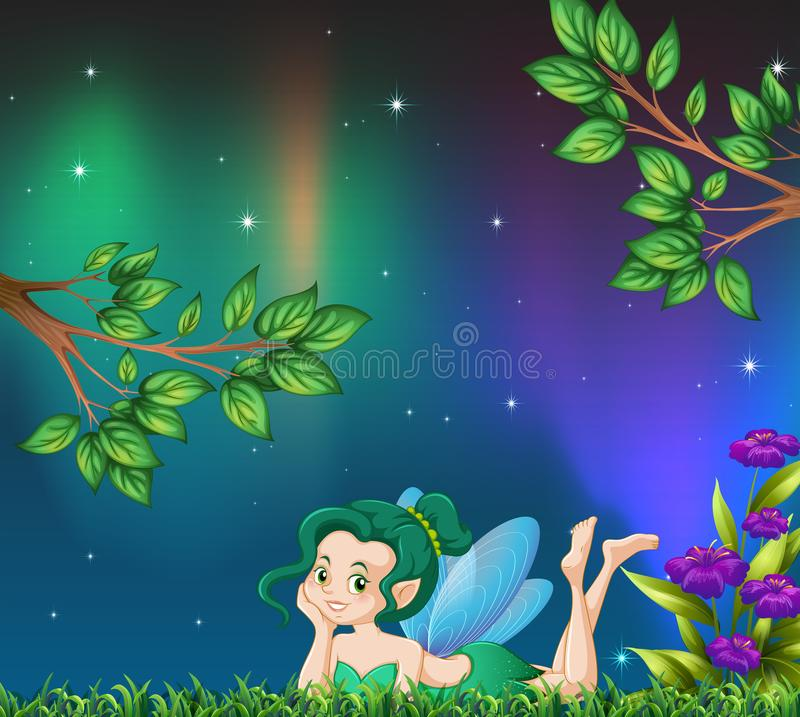 Cute fairy in garden at night. Illustration royalty free illustration