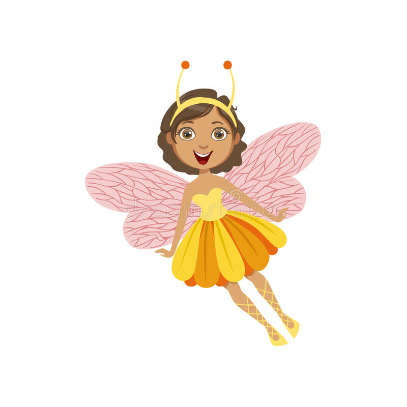 Cute Fairy With Insect Features Girly Cartoon Character stock illustration
