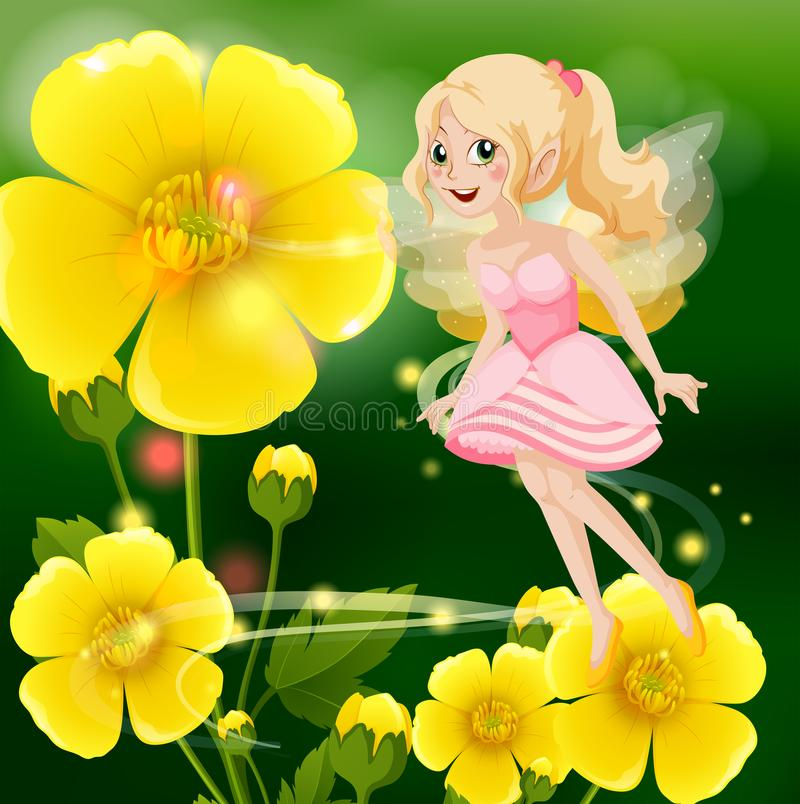 Cute fairy in pink dress flying in flower garden. Illustration royalty free illustration