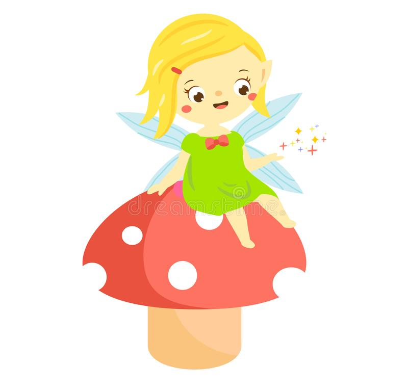 Cute fairy sit on mushroom. Garden elf, little pixie. Fantasy character stock illustration