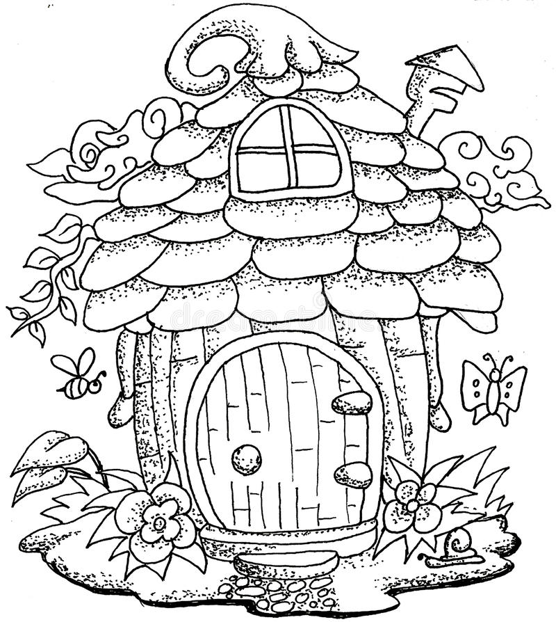 Download Cute Fairy Tale Doodle Mushrooms House For Coloring Book Adult Stock Vector