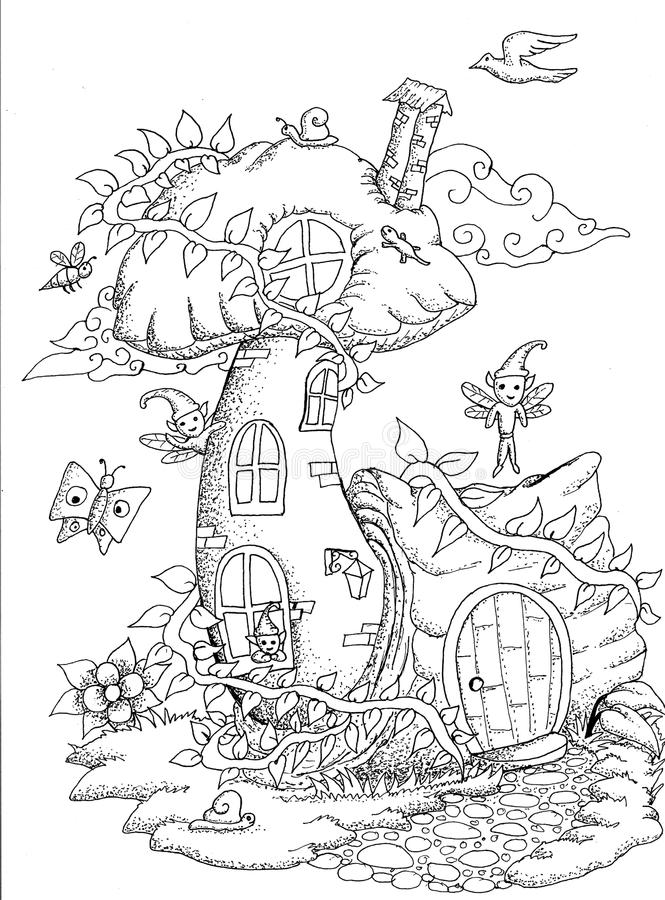 Cute fairy tale doodle mushrooms house for coloring book for adult royalty free illustration