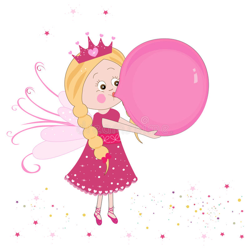 Free Cute Fairy Tale Inflating A Balloon Vector Background Stock Photos - 47968363