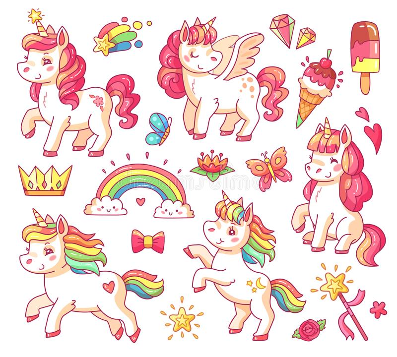 Cute flying baby rainbow unicorn with gold stars and sweet ice creams. Magic little pony fantasy unicorns cartoon vector stock illustration