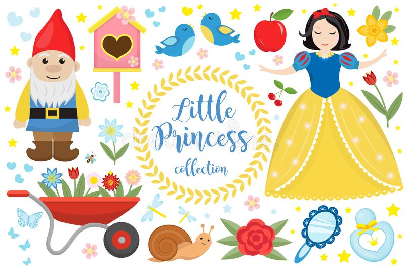 Cute fairytale princess snow white set objects. Collection design element with a little pretty girl, gnome, apple stock illustration