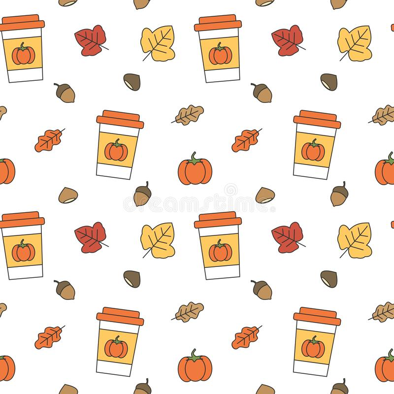 Cute fall autumn collection seamless vector pattern background illustration. Cute fall autumn collection seamless pattern background illustration royalty free illustration