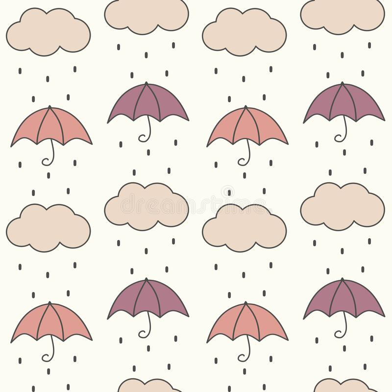 Cute fall autumn seamless vector pattern background illustration with umbrellas, clouds and rain. Cute fall autumn seamless pattern background illustration with stock illustration