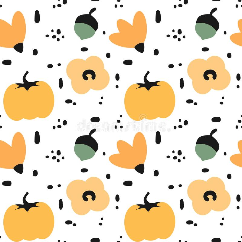 Cute fall autumn seamless vector pattern background illustration with abstract elements, flowers, acorns, pumpkins and leaves stock illustration