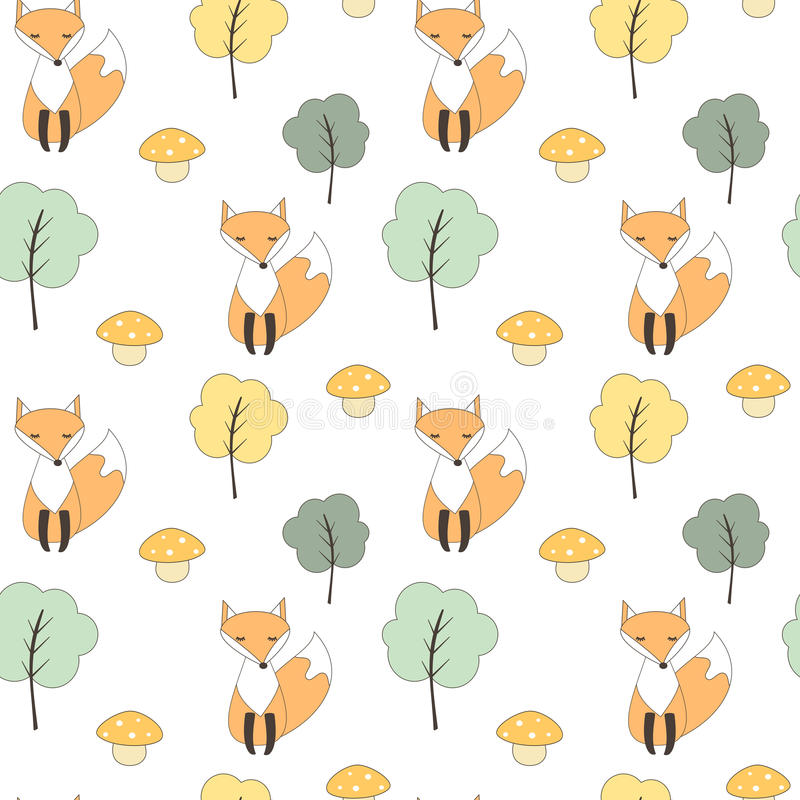 Cute fall autumn seamless vector pattern background illustration with fox, trees and mushrooms. Cute fall autumn seamless pattern background illustration with stock illustration