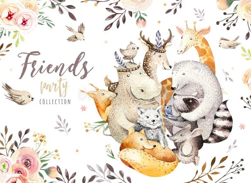 Cute family baby fox, deer animal nursery cat, giraffe, squirrel, and bear isolated illustration. Watercolor boho raccon royalty free illustration