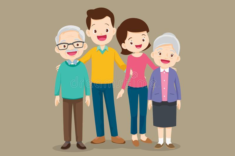 Cute family father mother grandmother royalty free illustration