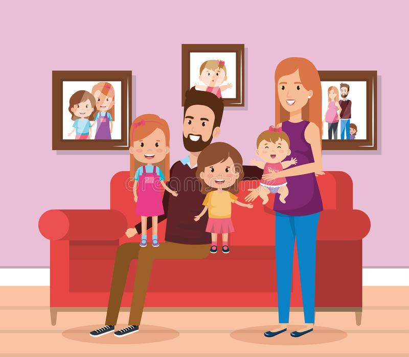 Cute Family Happy In The Living Room Characters Stock Vector ...