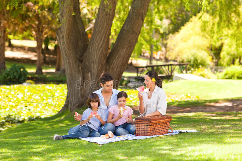 Cute family picnicking in the park. On a slick stock photos