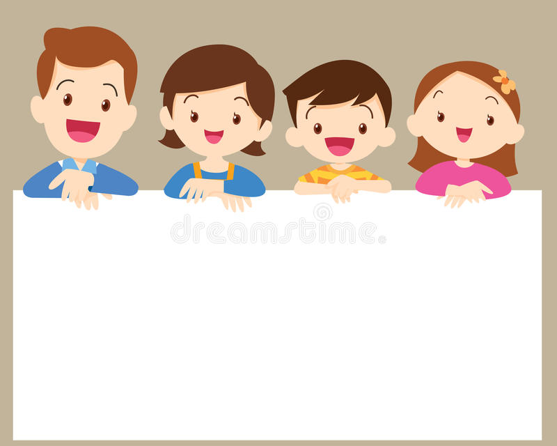 Cute Family Post Smile With White Frame Stock Vector - Illustration ...
