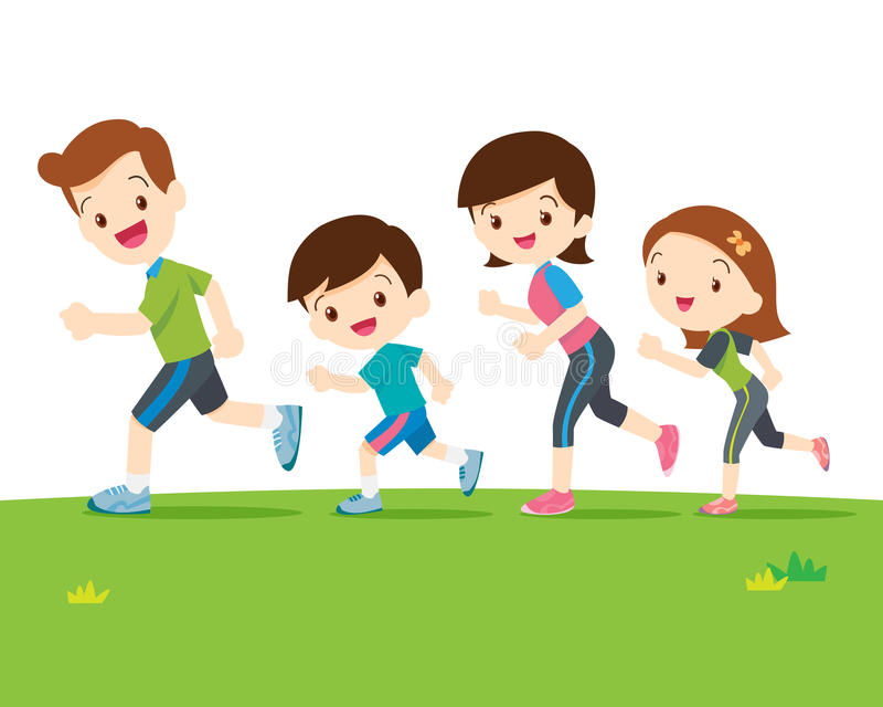 Cute family running together. Cute family runing together.Dad son mom daughter are jogging stock illustration