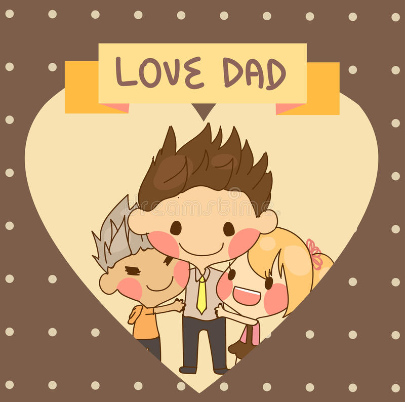 Father Love: Cute Family Son Daughter Father Love Dad Father's Day