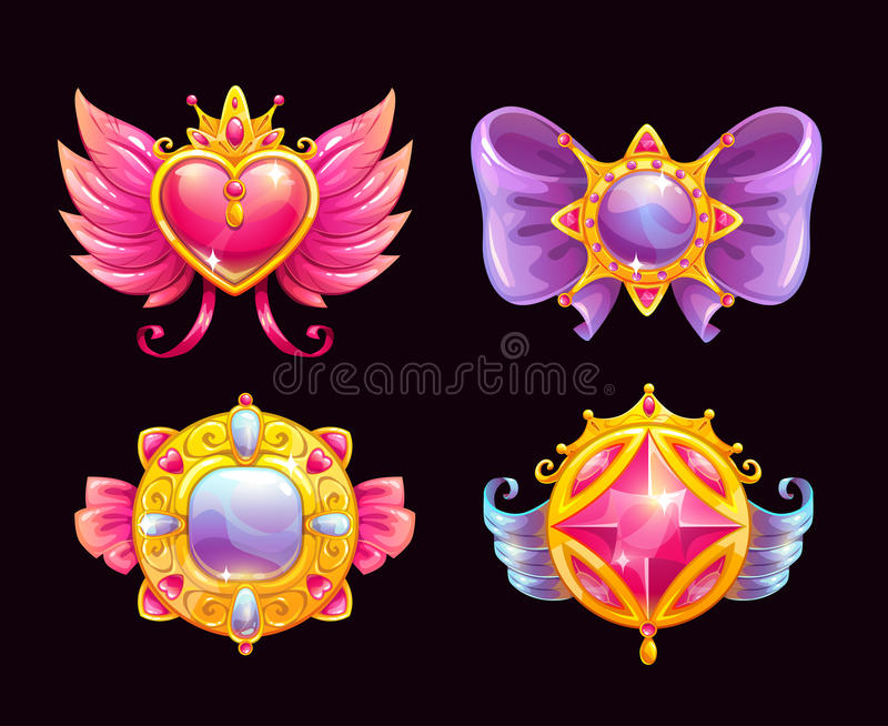 Cute fantasy decorative precious awards set. Beautiful girlish accessories. Vector icons, isolated on black background stock illustration