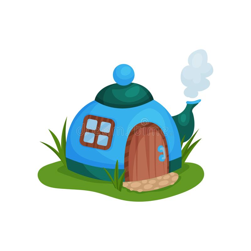 Cute fantasy house in form of blue teapot with little window and wooden door. Cartoon flat vector design for fairy tale vector illustration