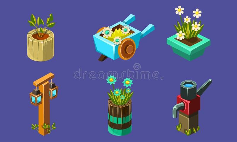 Cute Fantasy Landscape Elements Set, User Interface Assets for Mobile App или Video Game Vector Иллюстрация бесплатная иллюстрация