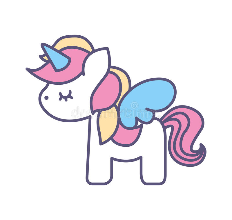 Cute fantasy unicorn icon vector illustration