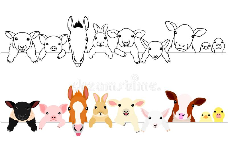 Cute farm animal babies border set. In a row, with and without colors vector illustration