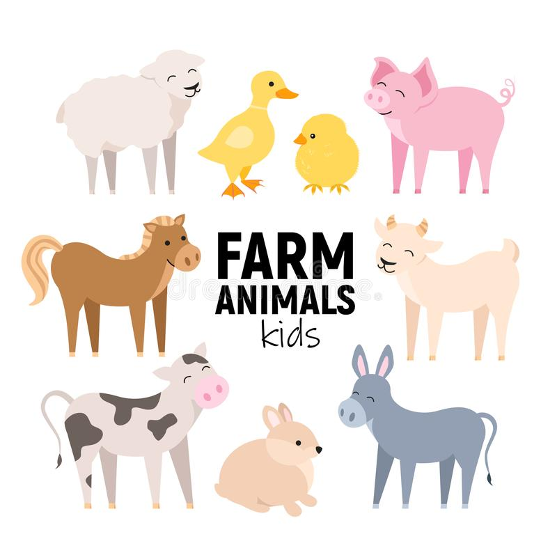 Cute farm animals cow, pig, lamb, donkey, bunny, chick, horse, goat, duck isolated. Domestic animals kid set vector. Illustration on white stock illustration