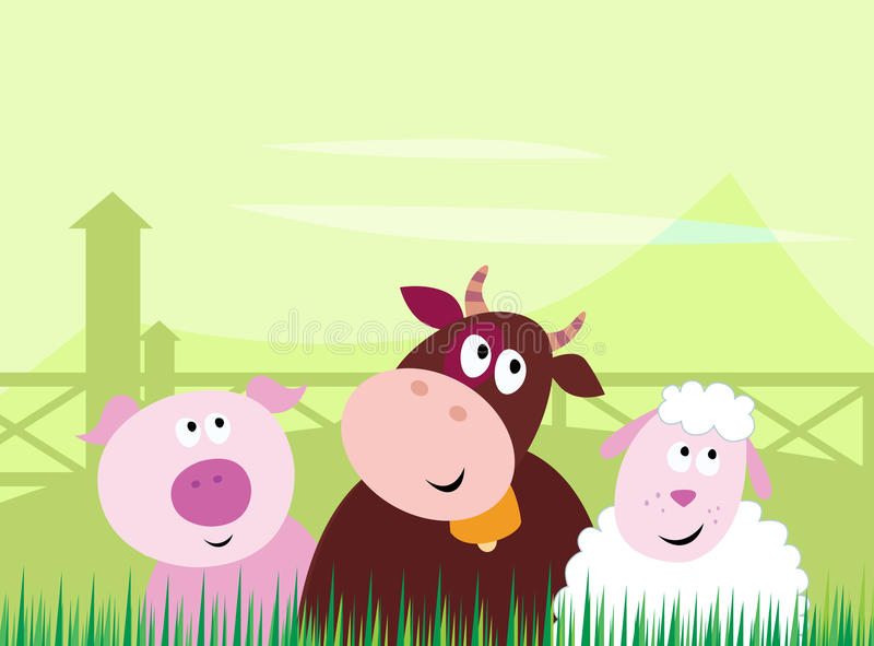 Cute farm animals - Pig, Cow and Sheep stock illustration