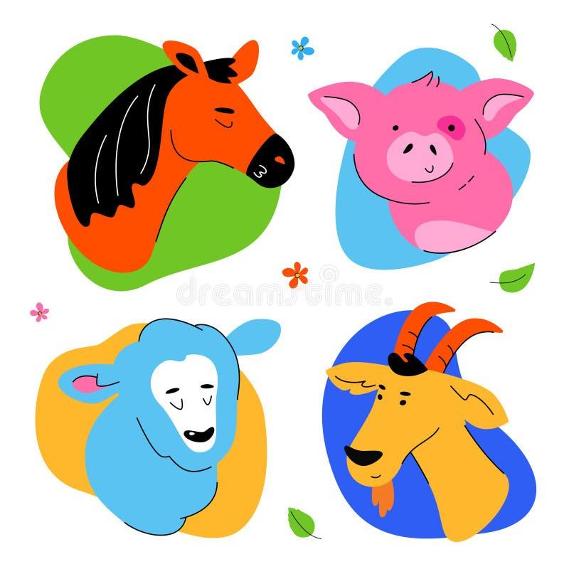 Cute farm animals portraits - set of flat design style characters stock illustration