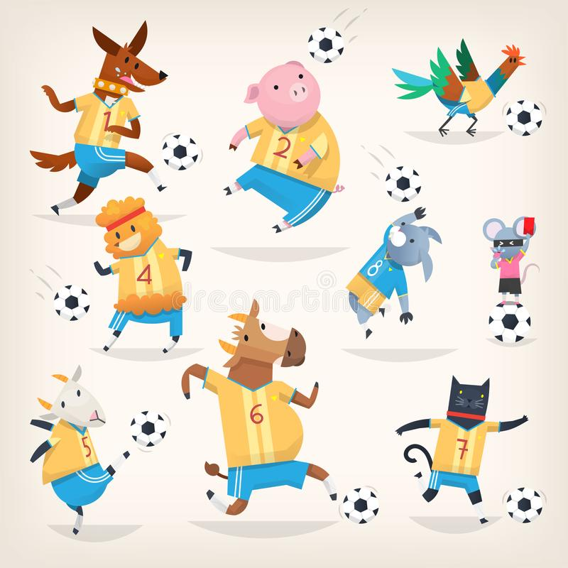 Cute farm animals team playing soccer on different positions. First team vector illustration