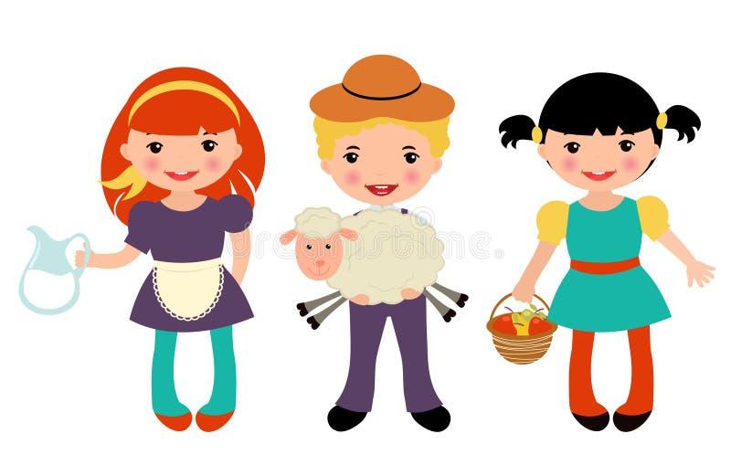 Cute farmers set royalty free illustration