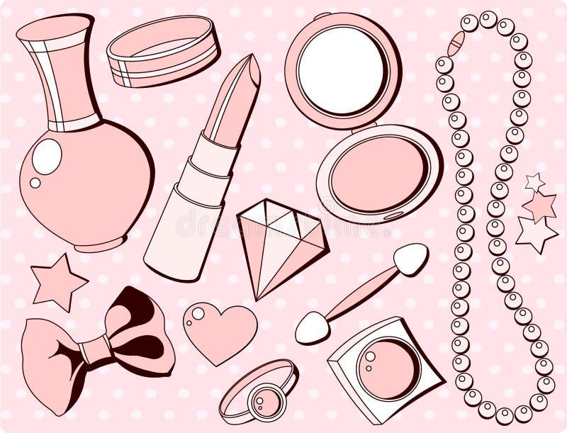 Cute fashion accessories vector illustration