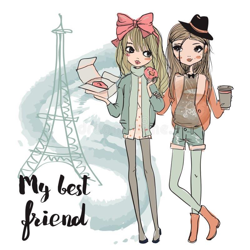 Cute cartoon girls stock illustration