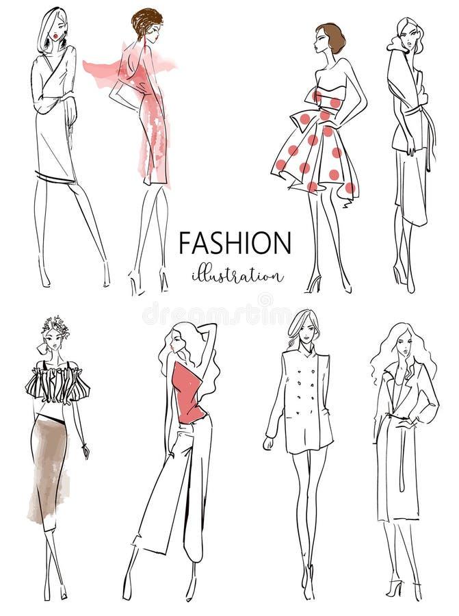 Cute cartoon hipster girls vector illustration