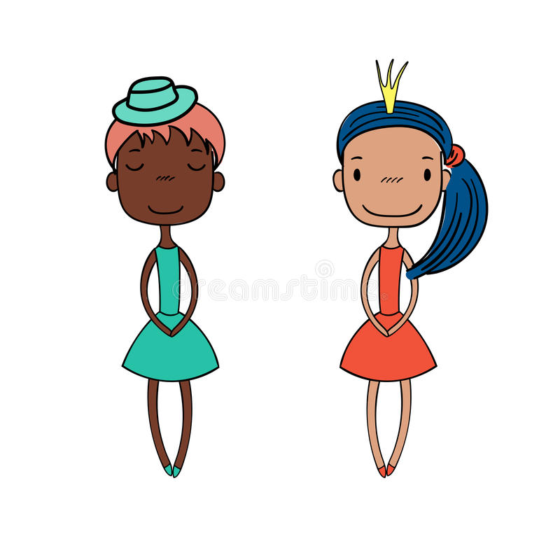 Cute fashion girls vector illustration